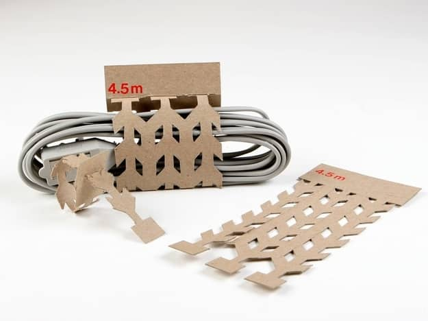 Cord packaging that tears off to become cord ties.