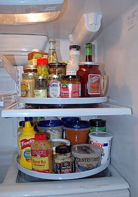 A Lazy Susan for the fridge makes everything more accessible.