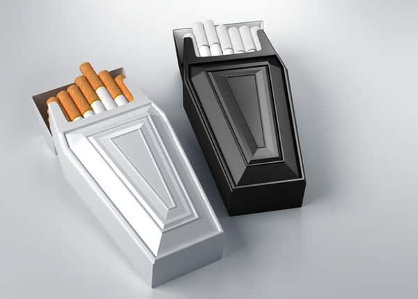 Anti-smoking cigarette packaging that really drives the message home.