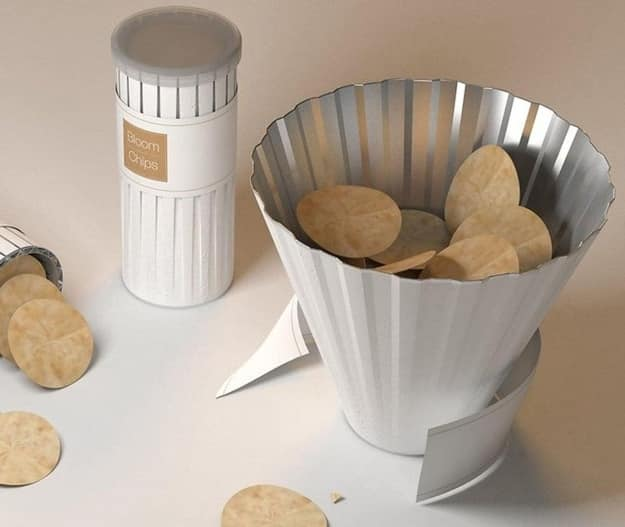 The updated Pringles can that accordions out into a chip bowl.
