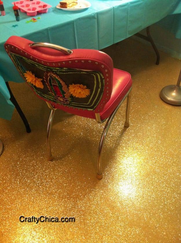 Make a glitter floor.
