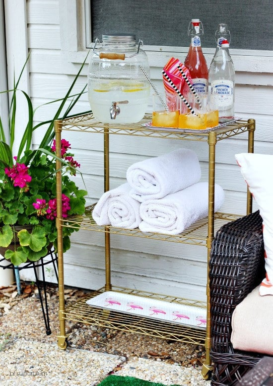 Use one outside to store pool towels and summer drinks.