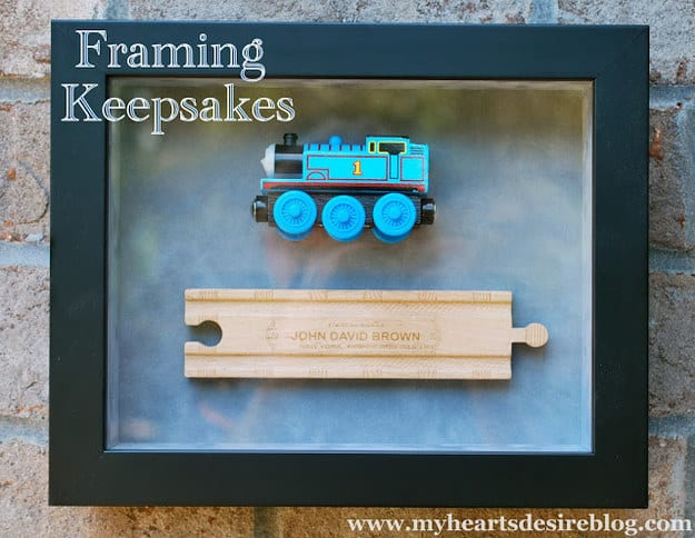 Frame a favorite childhood toy in a shadow box.