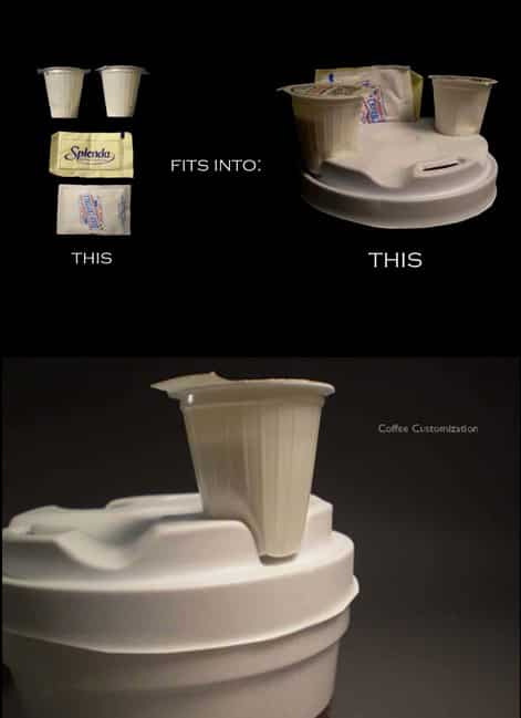 A genius coffee lid cup that can also hold creamers and sugar.