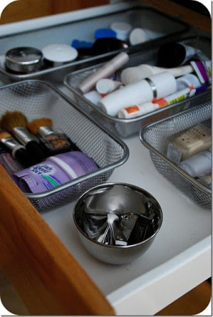 Use velcro and office trays to organize your drawers.