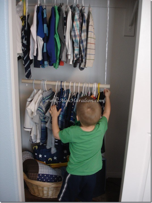 Hang a second bar in the closet for your sweaters or your kid's clothes.