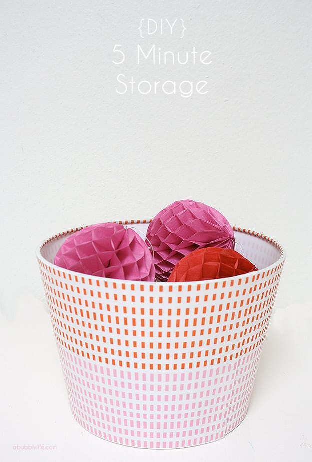 Insert a Heat trivet into the bottom of a lampshade for a cute (and quick) storage solution.