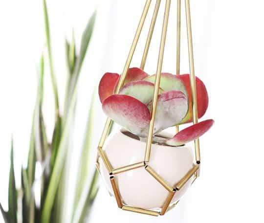 Mini Brass Hanging Planter