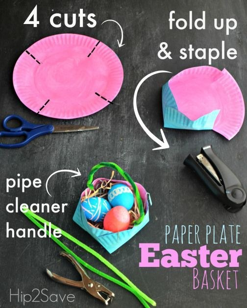 DIY your own easter baskets from paper plates.