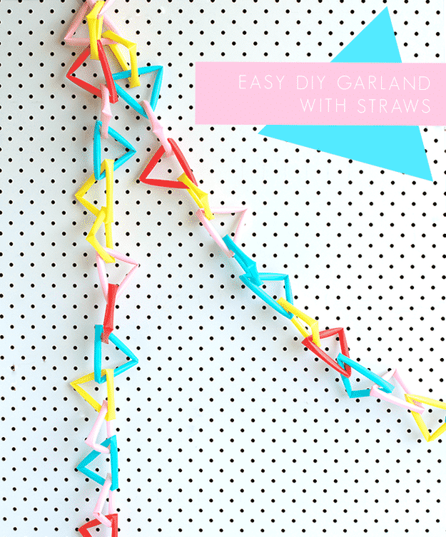 Even kids can make straws into garlands! Just bend them into triangles and link them together.