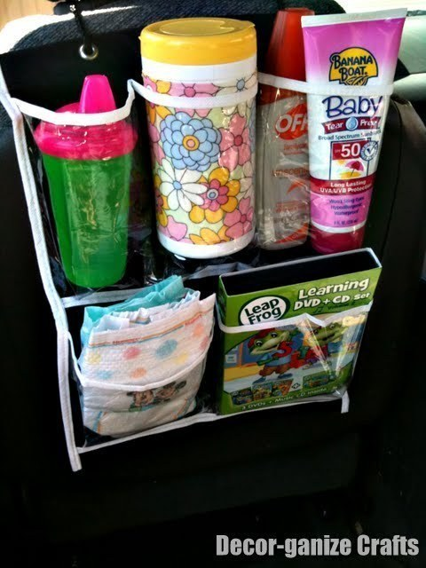 Keep car essentials in a hanging shoe organizer.