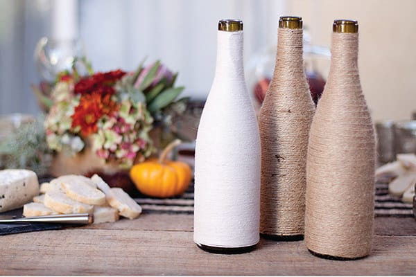 Yarn Wrapped Wine Bottles