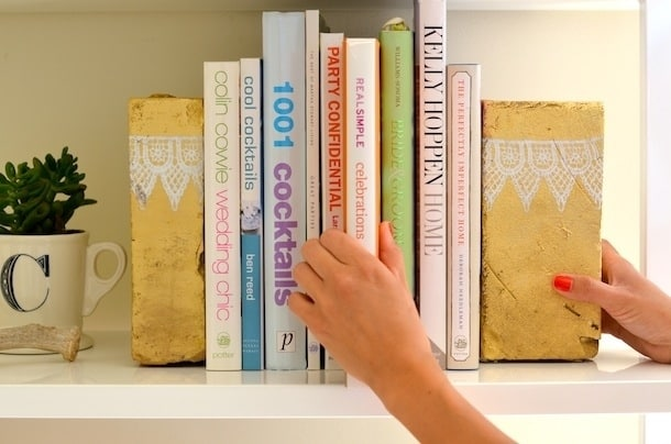 Camille Styles: Metallic Brick Bookends