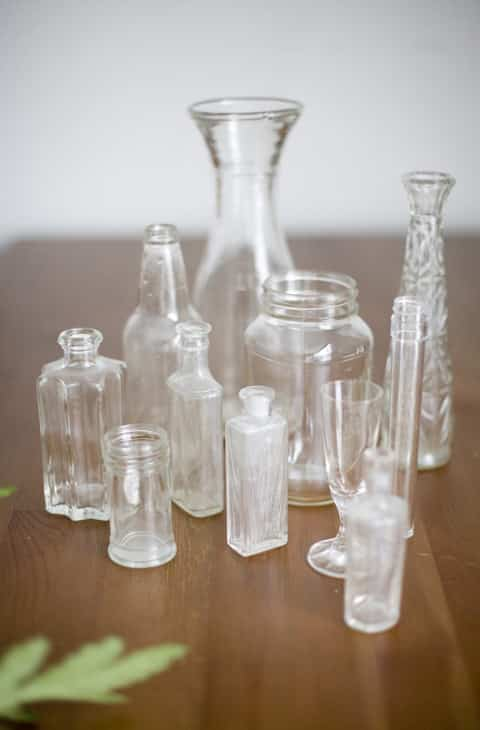 Give cheap thrifted or dollar store glass trinkets a milky antique finish.