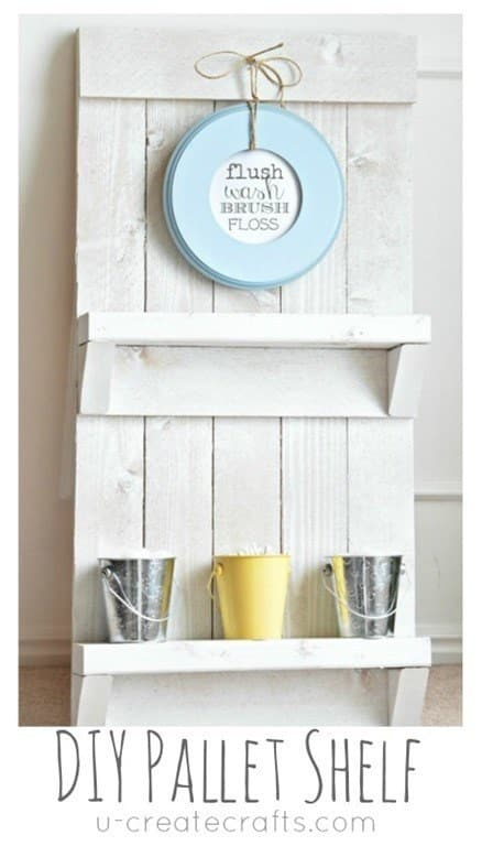 Add some rustic charm with a DIY pallet shelf.