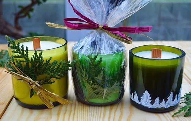 Handmade Wine Bottle Candles