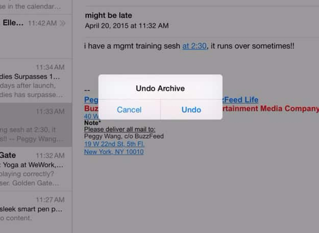 Accidentally deleted your email? Shake your iPad to undo.