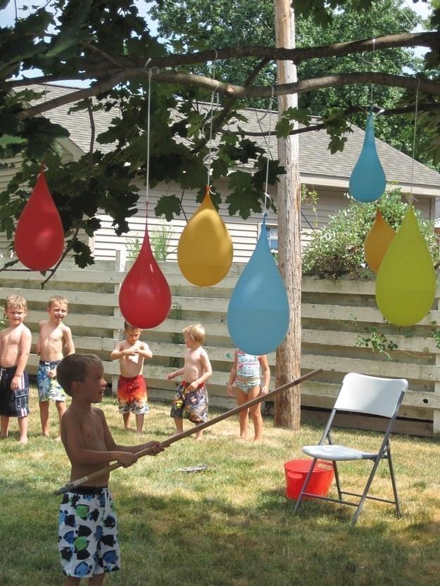 Play a refreshing game of water balloon piñatas.