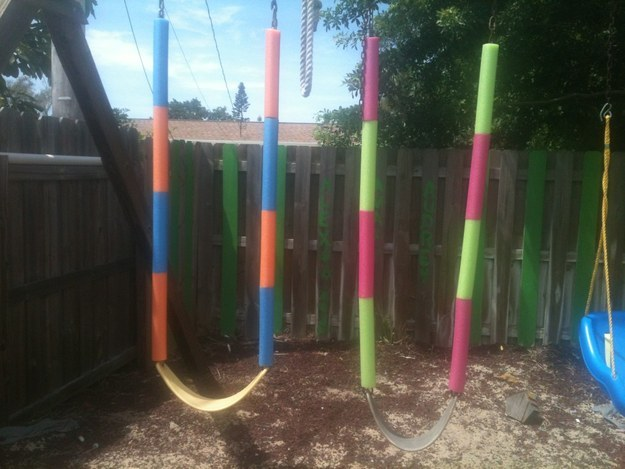 Cover rusted swingset chains with pool noodles.