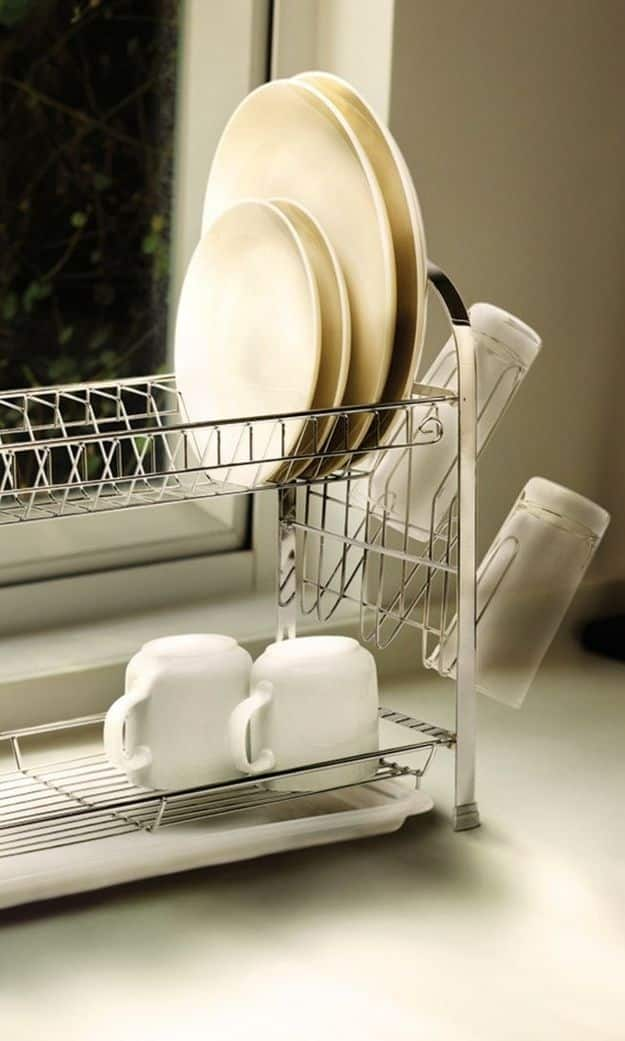 This two-tier dish rack is an absolute necessity for small kitchens.