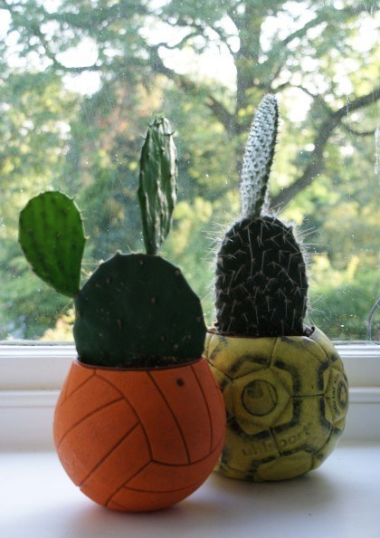 Upcycled Football Cacti Pots