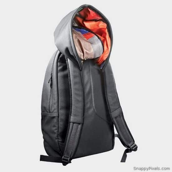 Cover up your bad hair day with a built-in backpack hoodie.