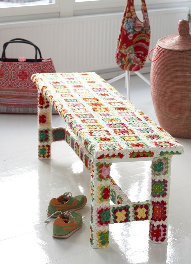 If you know how to crochet, you could whip up enough granny squares to completely cover a Norden bench.