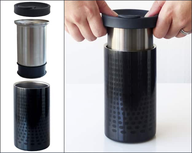 Brew coffee ON THE GO with this travel mug.