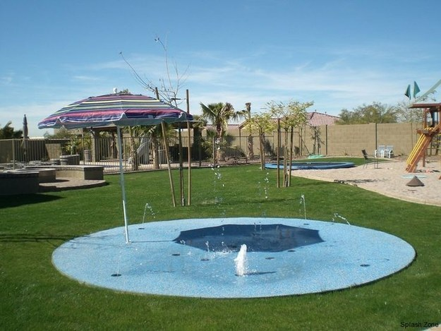 Combine that in-ground trampoline with a SPLASH PAD.