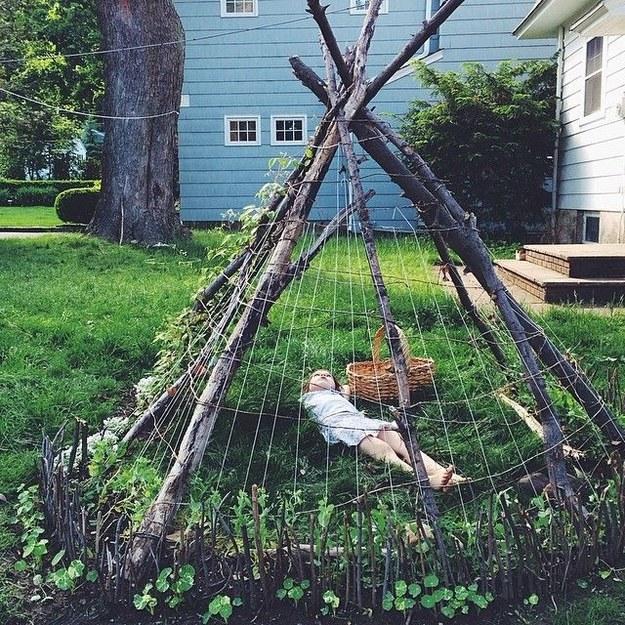 Create a garden teepee.