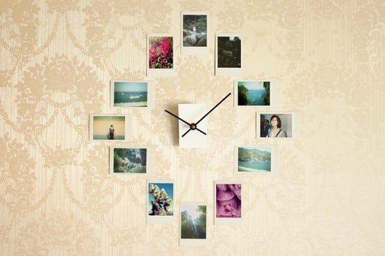 Make a wall clock with Instagram photos or Polaroids.