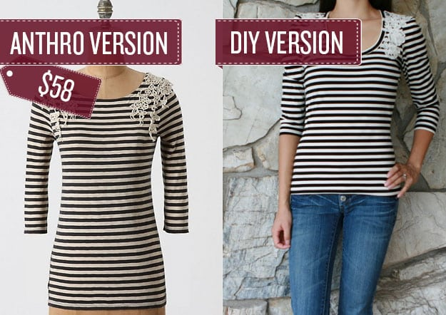 Add lace to a striped tee.