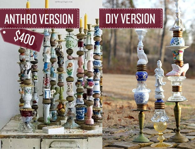 Make candlesticks out of a variety of trinkets.