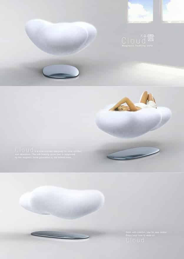 A levitating sofa that uses a giant magnet to simulate sitting on a cloud.