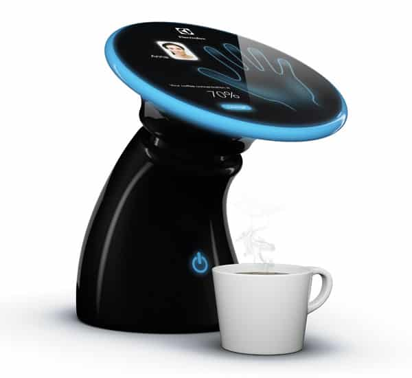 A coffeemaker that uses handprint recognition to make the perfect cup of coffee according to personal preference.