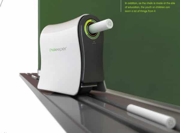 A chalkboard trolling gadget that converts chalk dust to new sticks of chalk.