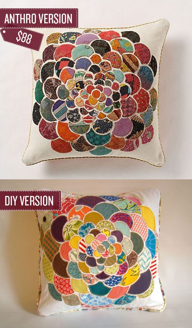 Create a collaged fabric throw pillow.