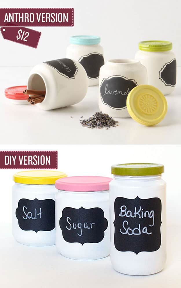 Turn old jars into chalkboard spice jars.