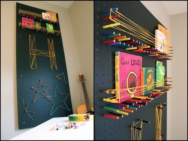Create a pegboard using colored pencils and string.
