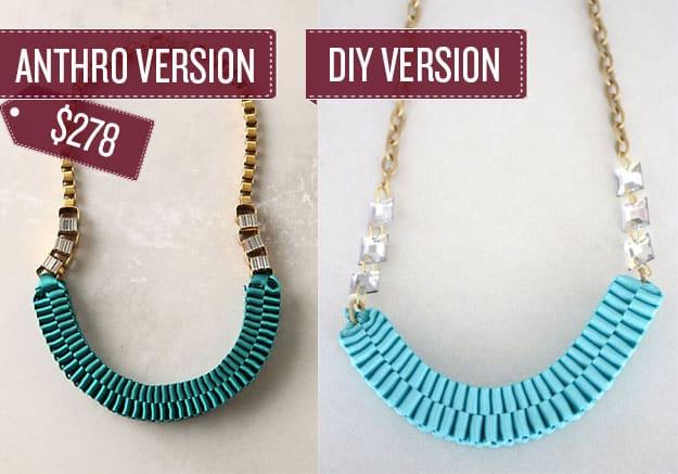 Make a woven ribbon statement necklace.