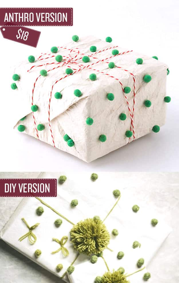 Wrap a gift in pom-pom covered gift wrap.