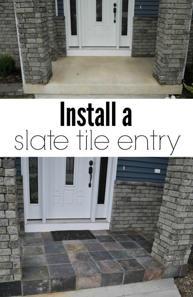 Add tile to a plain concrete entryway.