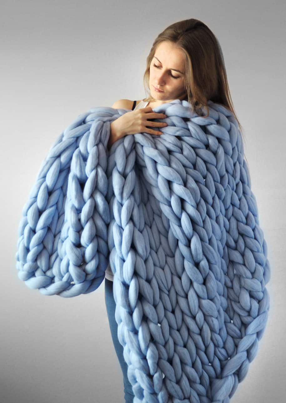 Giant Hand Knit Blankets Are Crazily Cozy Designbump