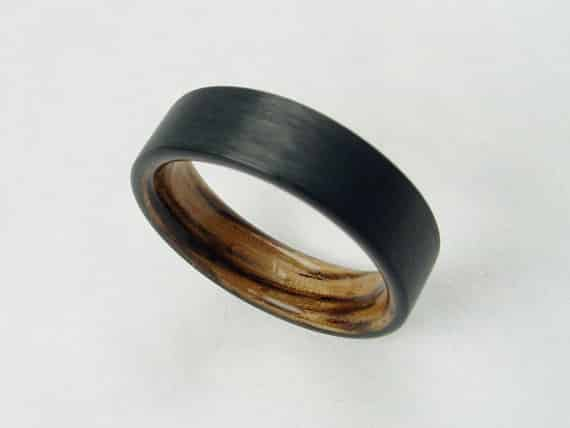 Bentwood Carbon Fiber and Zebra Wood Wedding Band