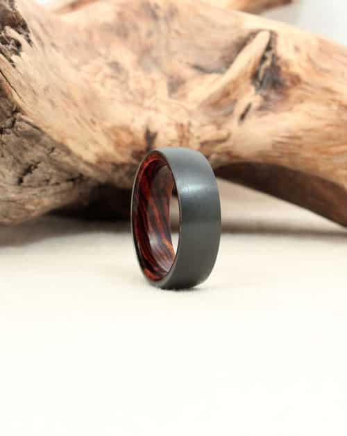 Black Zirconium and Cocobolo Wooden Ring