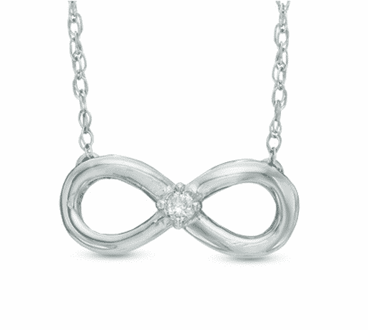 Diamond Accent Solitaire Sideways Infinity Necklace in 10-Karat White Gold