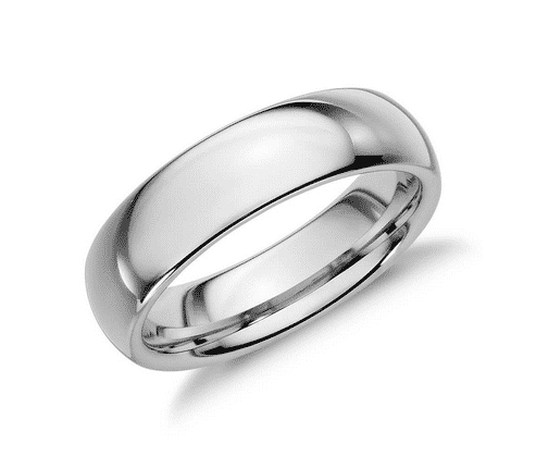 Comfort Fit Wedding Ring in White Tungsten Carbide
