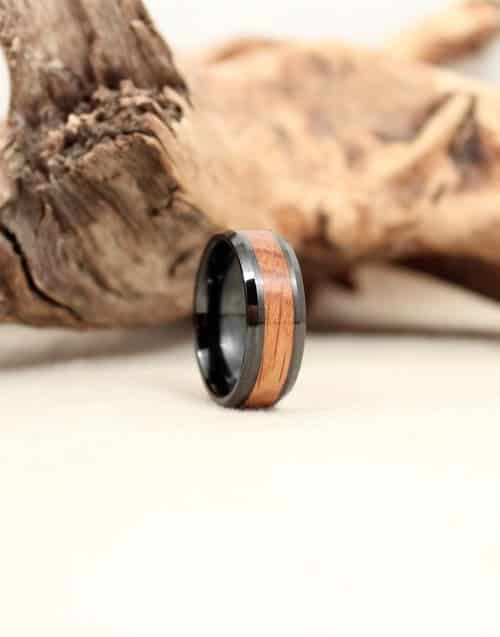 Bourbon Barrel Stave Oak and Black Ceramic Wooden Ring