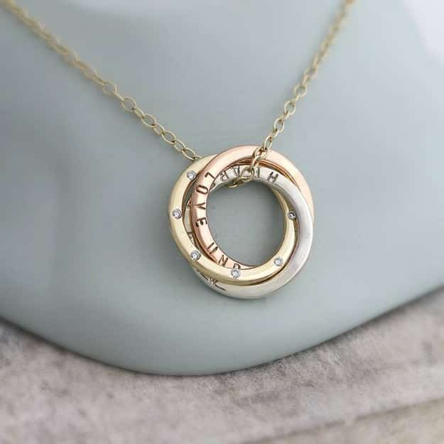 Personalized Gold Russian Ring Eternity Necklace