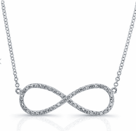 14-Karat White Gold Diamond Large Infinity Necklace